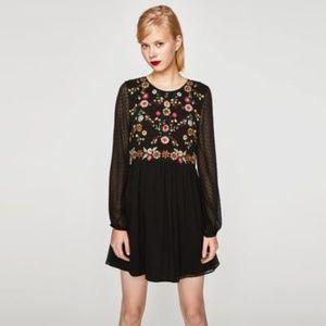 Zara Floral Embroidered Swiss Dot Mesh Dress
